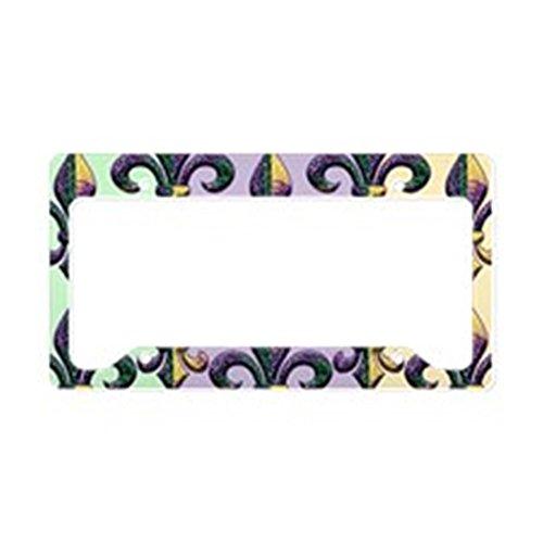CafePress Fleur de lis Mardi Gras Beads License Plate Holder Aluminum License Plate Frame, License Tag Holder