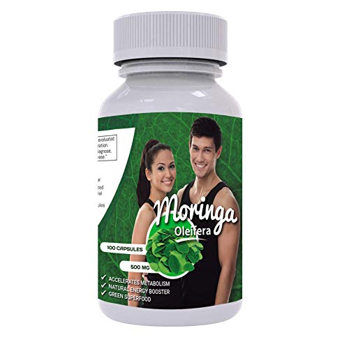 Pure Moringa Capsules - Leaf Powder Extract - 1000 mg per Serving - Natural Weight Loss, Energy and Metabolism - Superfood from Peru - Non GMO - Gluten Free
