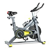 Wonder Maxi WSP6908H Indoor Exercise Bike – Belt Drive Stationary Bike with Adjustable Resistance and Senior LCD Monitor for Home Cardio Workout Bike Training (Gray & Yellow)