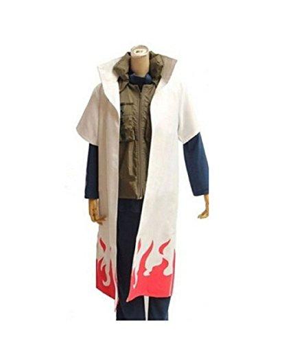 Harry Shops Naruto 4th Hokage Namikaze Minato cloak Cosplay Costume-X-Large