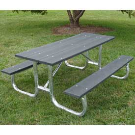 6' Galvanized Frame Picnic Table, Recycled Plastic, Gray