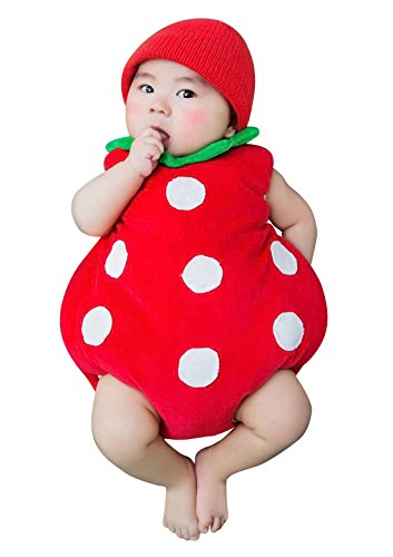 Cute Newborn Photography Props Strawberry Costume Jumpsuit Baby