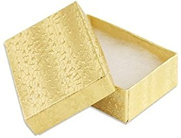 25 pcs Gold Cotton Filled Jewelry Gift Boxes 2 x 1