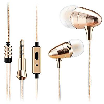 earbuds1.2M Golden Bullet forma Monitor Plano 3,5mm auriculares HIFI Juego de computadora móvil MP3auricular con micrófono para karaoke, dorado