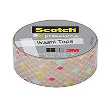 Scotch Expressions Washi Tape, Gold Diamonds, 15mm x 10m, 1 Roll, (C314-P35)