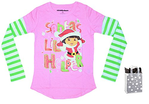 Lil Explorers - Dora the Explorer Little Girl's Santa's Lil' Helper Mock Tee & Bag Gift Set (Medium)