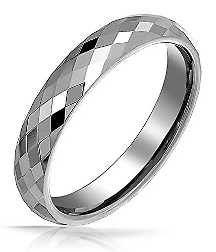 Bling Jewelry Multi Faceted Wedding Band Tungsten - Rings Jewelry Mens Bling