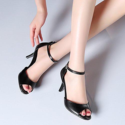 VIVIOO Sandalias De Mujer Sandalias De Tacón Alto Zapatos De Tacón Alto Zapatos De Boca De Pescado Hebilla Tacones Altos Sandalias Huecas Hembra Fina Con Black