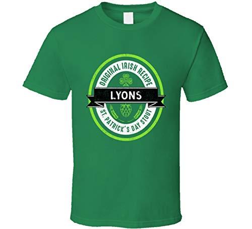 Lyons Beer Stout Label Drink Irish Name St Patricks Day T Shirt L Irish Green