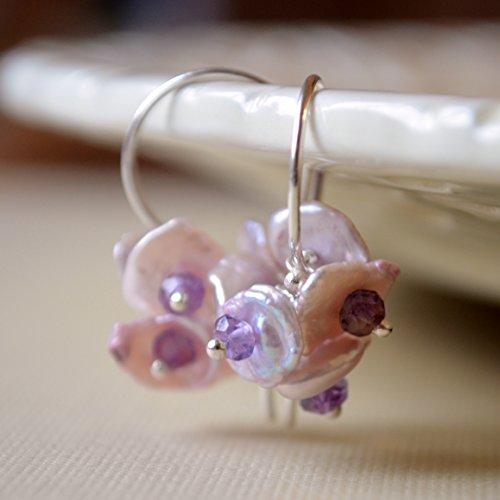 (Lavender Keishi Pearl Earrings in Sterling Silver)