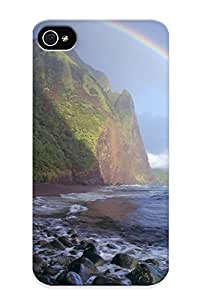 Hard Plastic Iphone 4/4s Case Back Cover, Hot Misty Rainbow Waialu Valley Molokai Hawaii Case For Christmas's Perfect Gift