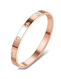 Yeemer Stainless Steel Love Bracelet Bangles with Diamonds Crystals for Mom,Girls