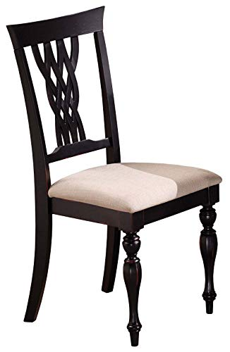 Hillsdale Furniture 4808-802 Embassy Dining Chairs (Set of 2) Standard Rubbed Black (Hillsdale Chair Fabric)