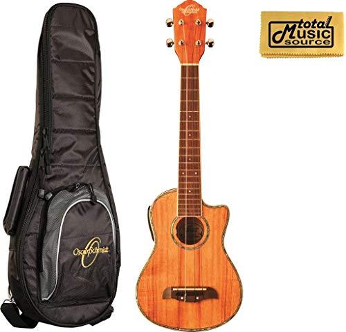 Oscar Schmidt Koa Concert Acoustic Electric Ukulele Bag, OU5LCE w/ UB3 Gig Bag