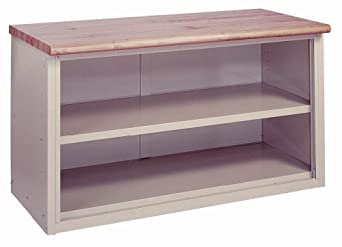 "Lyon BB2846 Laminated Hardwood Top Pre-Engineered Cabinet Work Bench with 1 Shelf, 72"" Width x 28"" Depth x 34"" Height, Wedgewood Blue"