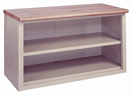 Lyon BB2872 Plastic Laminate Top Pre Engineered Cabinet Work Bench With 1  Shelf, 72u0026quot