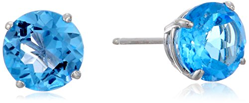 Round Blue Topaz Prong - 14k White Gold 6mm Round Blue Topaz 4-Prong Studs