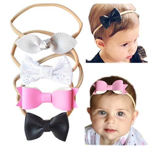 California Tot Baby Girls' Mixed Leather Bows - Soft & Stretchy Nylon Headbands for Newborn, Toddler Set of 4 (Wonderland Set)