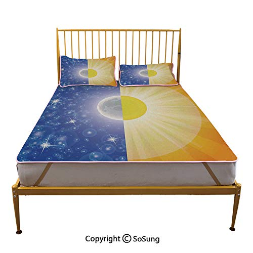 Apartment Decor Creative Queen Size Summer Cool Mat,Split Design with Stars in The Sky and Sun Beams Light Solar Balance Image Sleeping & Play Cool Mat,Blue Yellow