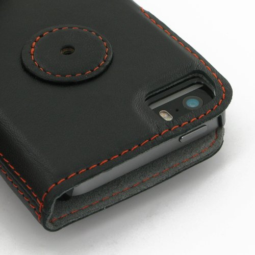 Apple iPhone 5s Ultra Thin Leather Case / Cover (Handmade Genuine Leather) - Book Type (Black/Orange Stitchings) by Pdair