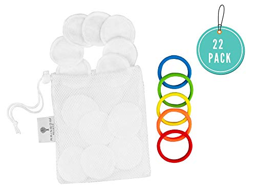 RAINBOW ROVERS Reusable Bamboo Velour Makeup Remover Pads | Zero Waste Cloth Pads for All Skin Types | Effectively Cleans Without Discomfort | Eco-Friendly Alternative to Cotton Rounds | 22pc Pack