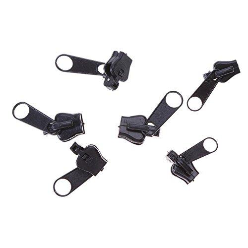 Matefield 6pcs/Set Universal Fix Zipper Repair Kit Replacement Zip Slider(All Black)