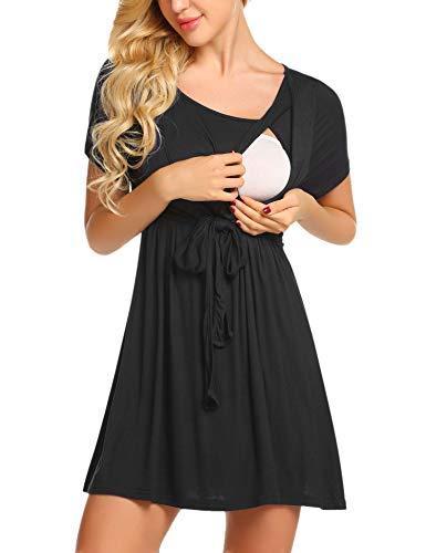 - Ekouaer Women's Maternity Nursing Top Short Sleeve Ultra Soft Breastfeeding Clothes (M, Black