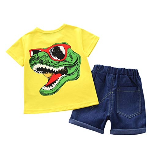 Toddler Boys Cotton Clothes Sets Short Sve Tee and Shorts Outfits Set Short Baby Sets Two Pieces 6M-4Y Yellow