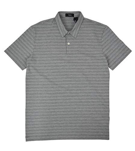 Theory Men's Bron O Microknit Two Button Polo Shirt Grey Striped (Medium)