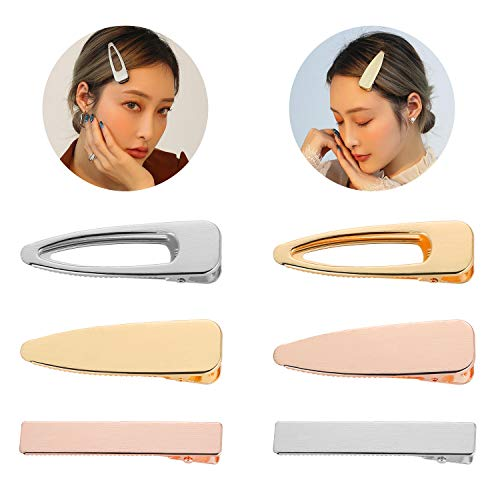 Decorative Alligator Hair Clips for Women Girls, Funtopia 6 Pack Fashion Oversize Metal Duck Bill Clips Hair Barrettes Hair Pins for Thick Hair (Gold, Silver, Rose gold)