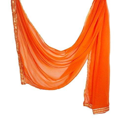 Indian Dupatta Chiffon Golden Border Stole Neck Wrap Head Scarf Hijab Chunni for Woman (Orange) by Stylob