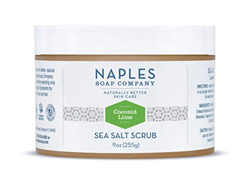 Naples Soap Natural Sea Salt Scrub - Detoxifying Shea Moisturizing Scrub Made With No Harmful Ingredients - Natural Skin Care Removes Dry, Dull Flakes Revealing Radiant Skin - 9 oz, Coconut Lime
