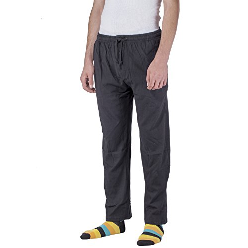 Mens Lounge Pants Soft Jersey Cotton Pajama Bottoms with Pockets (Small, (Flannel Pj Shirt)
