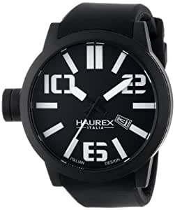 Haurex Italy Men's 1N377UNTurbina Black Ion-Plated Stainless Steel Watch With Black Silicone Band