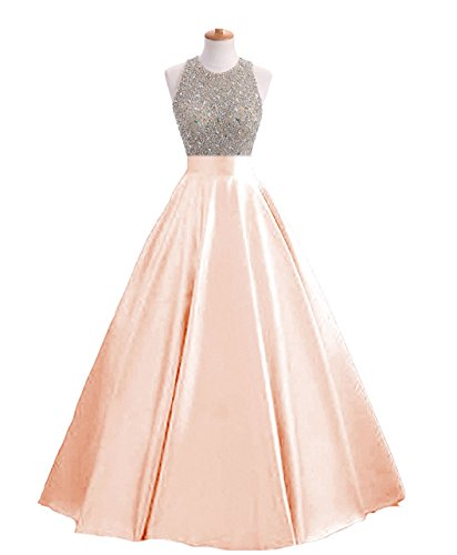HEIMO Women's Sequined Evening Party Gowns Beading Formal Prom Dresses Long H160 18W Blush