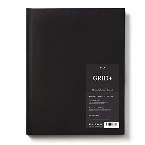 Vela Sciences Advanced Hardcover Lab Notebook, 9.25 x 11.75 inches, 144 pages (1-Pack, Grid+) ()