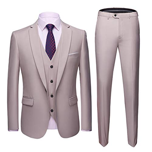 MY'S Men's Suit Slim Fit One Button 3-Piece Suit Blazer Dress Business Wedding Party Jacket Vest & Pants Beige