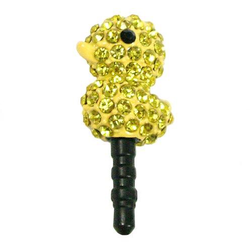 Gioielli per il tuo telefonino nella forma di anatra con strass in color giallo.
