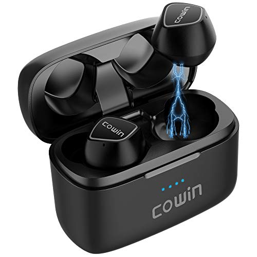 COWIN KY02 2019 Upgraded Wireless Earbuds True Wireless Earbuds Bluetooth Headphones with Microphone Bluetooth Earbuds Stereo Calls Extra Bass 36H for Workout Charging Case Included – Black