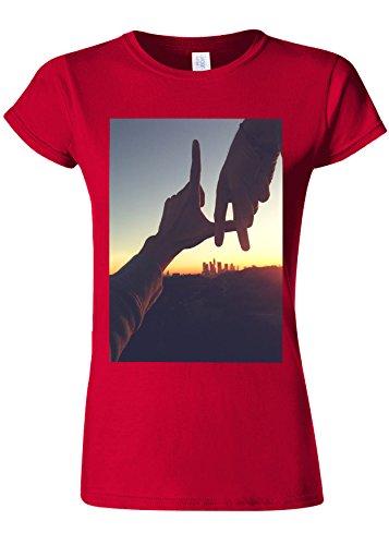 黒モナリザ重さLos Angeles City USA Sunset Novelty Cherry Red Women T Shirt Top-S