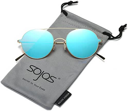 SojoS Small Round Mirror Sunglasses Memory Metal Frame for Men and Women SJ1068