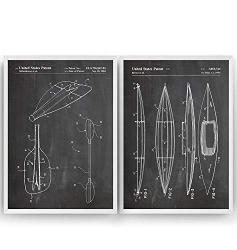 Kayak Patent Prints – Set Of 2 – Canoe Beach House Nautical Watersports Poster Giclee Art Wall Decor Vintage Blueprint…