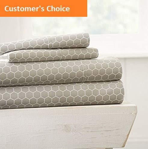 Mikash New Soft 4 Piece Sheet Set Honeycomb Patterned, California King, Light Gray | Style 84600297