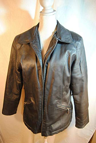 Vintage Italian Black Genuine Leather Jacket Ferre Woman's Coat Medium ()