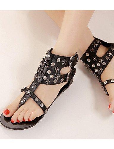 ShangYi Women's Shoes Flat Heel Toe Ring Sandals Dress Black/Silver