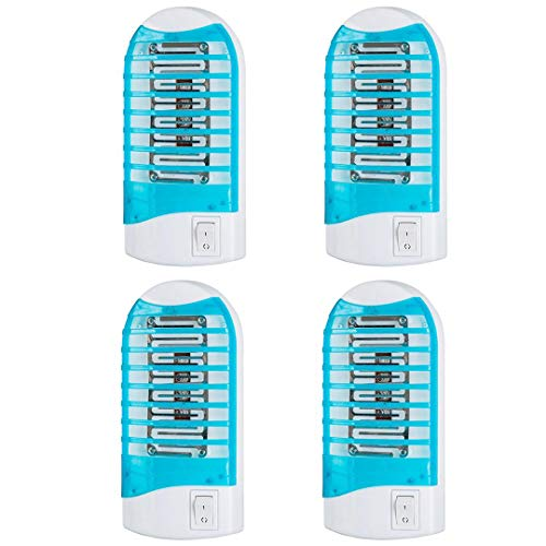 Maxtry 4 Pack Plug in Electronic Insect Killer Bug Zapper Mosquito Lure Lamp Pest Control Eliminates Flying Pests Gnat Trap Indoor with Night Light