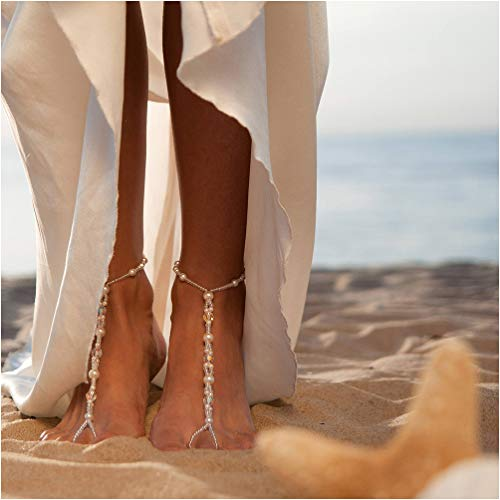 arl Bead Ankle Bracelet Crochet Beach Sea Anklets Barefoot Sandals Foot Jewelry Gift (White) ()