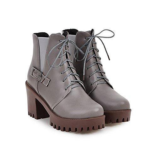 Grey High Boots Platform Lucksender Buckle Lace Heel Womens Short Up Chunky wWHHAOvXq