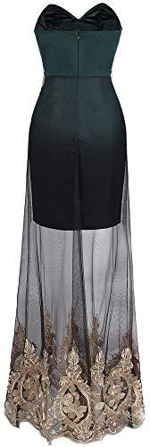 Nero Scuro donne Angel Dress fashions Lace See through Verde senza spalline ricamo X84PX