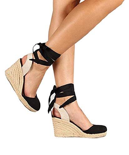PiePieBuy Womens Espadrille Wedges Ankle Strap Closed Toe Heeled Sandals (11 B(M) US, 2-Black) -